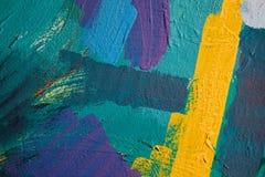 Farbige Farbenanschläge Hintergrund der abstrakten Kunst Detail eines Kunstwerks Zeitgenössische Kunst Bunte Beschaffenheit stark Lizenzfreies Stockbild