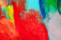 Farbige Farbenanschläge Hintergrund der abstrakten Kunst Detail eines Kunstwerks Zeitgenössische Kunst Bunte Beschaffenheit stark Lizenzfreie Stockfotografie