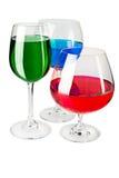Farbige Flüssigkeit in den Gläsern Lizenzfreie Stockfotos