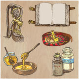 Farbige Gegenstände - Hand gezeichneter Vektorsatz Stockfoto