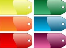 Farbige Geschenkmarken Stockfoto