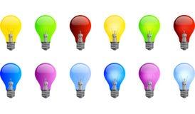 Farbige Glühlampen Lizenzfreies Stockfoto