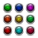 Farbige glatte Glasknöpfe mit Funkeln im metallischen Rahmen für Website oder APP Stockbilder