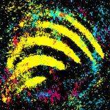 Farbige Graffiti beflecken auf einer schwarzen Hintergrundschmutzbeschaffenheit lizenzfreie stockfotos