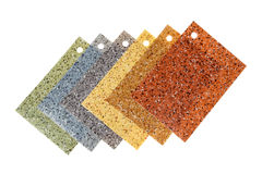 Farbige Gummibodenbelagproben, lokalisiert auf Weiß Lizenzfreie Stockbilder