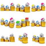 Farbige Häuser auf Stapel des Münzensatzes 3d übertragen Lizenzfreies Stockbild