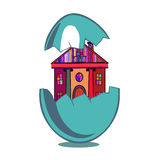 Farbige Häuser im Ei Stockfotografie