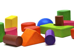 Farbige hölzerne Spielwaren Stockfotografie