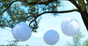 Farbige Heiratsdekorationen hängen von den Bäumen an einer Hochzeit stock video footage
