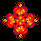 Farbige helle geometrische Zahlen des Tracery auf einem schwarzen backgroun Stockfotos