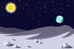 Farbige Hochtemperaturlandschaft Planetenerdsonne im Himmel Vektor Stockfotografie