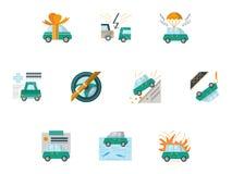Farbige Ikonen für Autoversicherung Stockbild