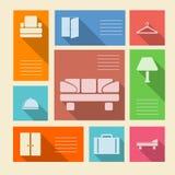 Farbige Ikonen für Hotel mit Platz für Text Stockfotos