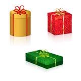 Farbige Kästen mit Geschenken für den Feiertag Stockbilder
