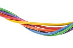 Farbige Kabel lokalisiert auf weißem Hintergrund Stockfotografie