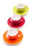 Farbige Kaffeetassen lizenzfreie stockbilder