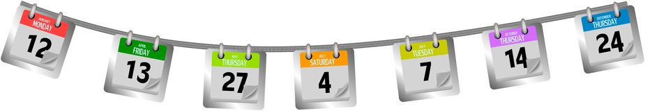 Farbige Kalenderseiten, die am Seil hängen Stockbild