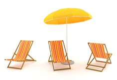 Farbige Klappstühle und Regenschirm lizenzfreie abbildung