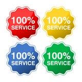 Farbige Knöpfe mit Service des Textes 100% stock abbildung