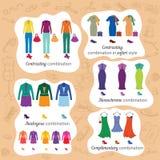Farbige Kombinationen in Mode Stockbild