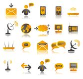 Farbige Kommunikationsweb-Ikonen eingestellt Stockbild