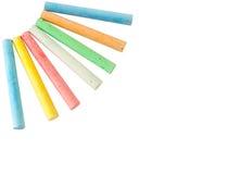 Farbige Kreide auf einem Weiß in Form von Strahlen Stockfotos