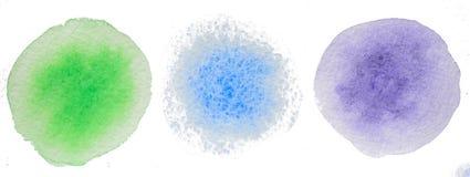Farbige Kreise Zusammenfassungsaquarell handgemacht lizenzfreie stockfotografie