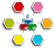 Farbige Laborflaschen in der Mitte des sechseckigen infografic Berichtsdiagramms Stockbilder