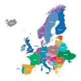 Farbige Land-Formen Europas Karte Stockfoto