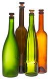 Farbige leere geschlossene Weinflaschen Stockfoto