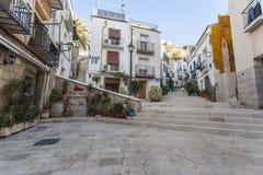Farbige malerische Häuser, Straße Typisches Nachbarschaft histori lizenzfreie stockfotografie