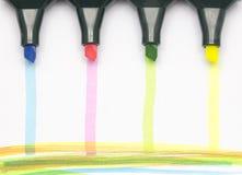 Farbige Markierungen mit farbigen Streifen Stockbild