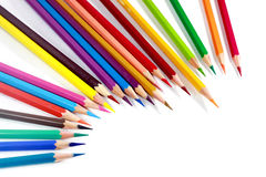 Farbige Mehrfarbenbleistifte oder Zeichenstifte Stockbilder