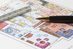 Farbige Pläne der Wohnung Stockbild