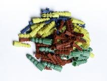 Farbige Plastikdübel Lizenzfreies Stockbild