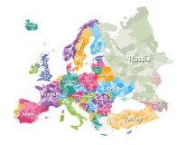 Farbige politische Karte von Europa mit Länder ` Regionen Auch im corel abgehobenen Betrag vektor abbildung