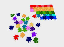Farbige Puzzlespiele auf einem weißen Hintergrund stock abbildung