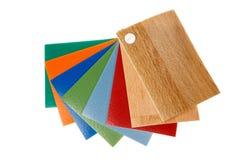 Farbige PVC-Linoleumbodenbelagproben Stockfotografie