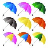 Farbige Regenschirme eingestellt Stockfotos