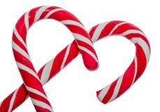 Farbige süße candys, Lutscher haftet, Sankt- Nikolausbonbons, die lokalisierten Weihnachten-candys, weißer Hintergrund Stockbilder