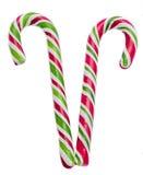 Farbige süße candys, Lutscher haftet, Sankt- Nikolausbonbons, die lokalisierten Weihnachten-candys, weißer Hintergrund Lizenzfreies Stockfoto
