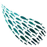 Farbige Schattenbilder von Gruppen Seefischen Kolonie von kleinen Fischen Ikone mit Fluss Taxers Logofische stock abbildung