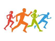 Farbige Schattenbilder von Läufern Flache Zahlen Marathoner Stockfotos