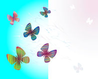 Farbige Schmetterlinge - Vektorillustration Stockfotos