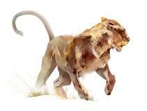 Farbige Skizze lokalisierte laufende Tierlöwin Stock Abbildung