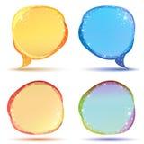 Farbige Spracheluftblasen mit Scheinen Stockfoto