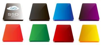 Farbige SSD-Antriebe Stockfotos