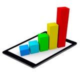 Farbige Stangen-wachsendes Diagramm-Auflagen-Tablet lokalisiert Lizenzfreies Stockbild