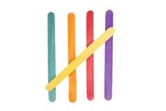 Farbige Steuerknüppel von den Popsicles. Stockfoto