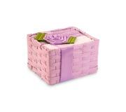 Farbige Tücher für das Waschen in einer Geschenkbox Stockfoto
